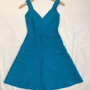 Herve Leger Nastya Torquoise BANDAGE DRESS Size S
